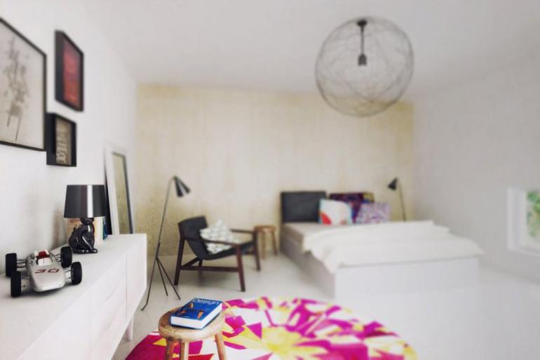 Návrh interiéru ložnice s designovým nábytkem