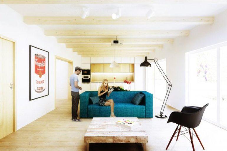 Návrh interiéru obývacího pokoje s modrou sedačkou.
