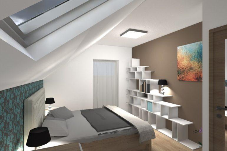 Návrh interiéru rodinného domu od architekta - ložnice.