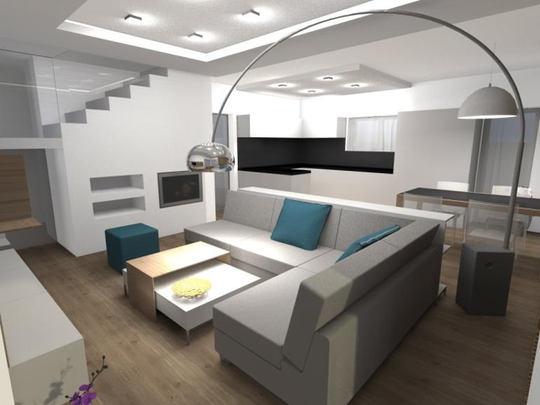 Návrh interiéru RD - obývací pokoj s krbem.