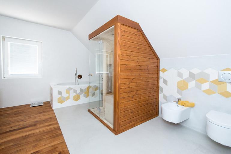 Návrh luxusní koupelny - pohled