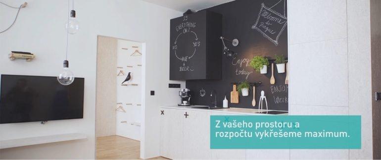Návrh interiéru bytu na pronájem, obývací pokoj, airbnb