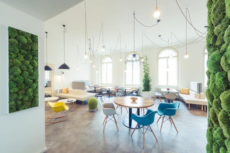 Návrh firemního interiéru, design kanceláře, kuchyňka, nábytek, zeleň, posezení, firemní identita