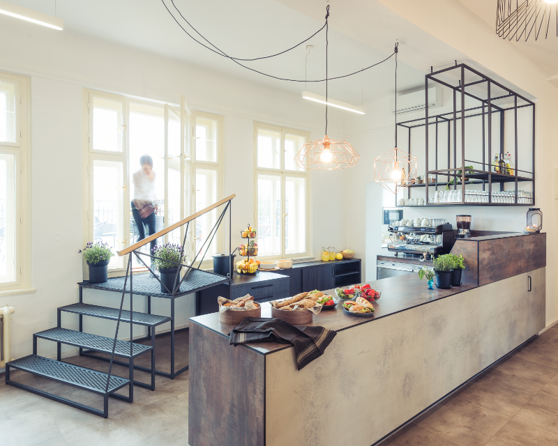 Návrh interiéru odpočinkové místnosti - bar, firemní interiér, relaxzóna, kuchyňka